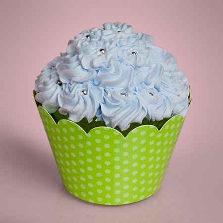 Green Polka Dots 1 Sided 50 pack 2 inches depth x 2 inches diameter Printed Paper Decorative Cupcake Wrappers