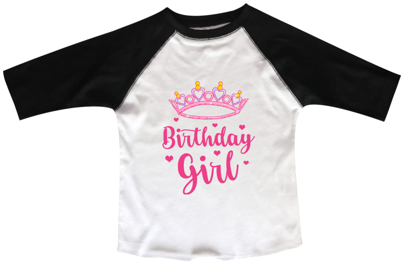 Girls Birthday Raglan 3 4 Sleeves Girl Tiara Toddler Youth Baseball Tee X Small Black