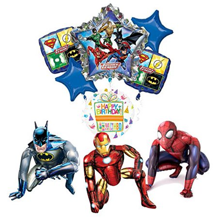 Justice League Party Supplies Batman, Spider-Man and Iron Man Airwalker Balloon Bouquet Decorations - Justice League Halloween Theme