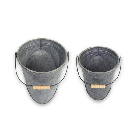Set of 4 Wall Pail with Handle Metal Tin, Brown - Tin Pails