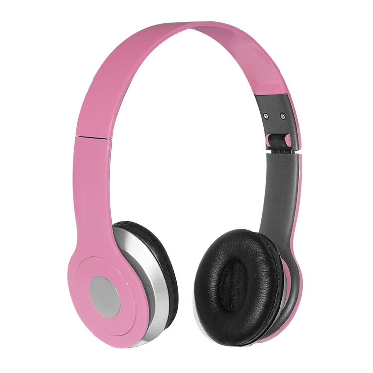 iCover Foldable Over-the-head Headsets with Built-in-mic in Pink