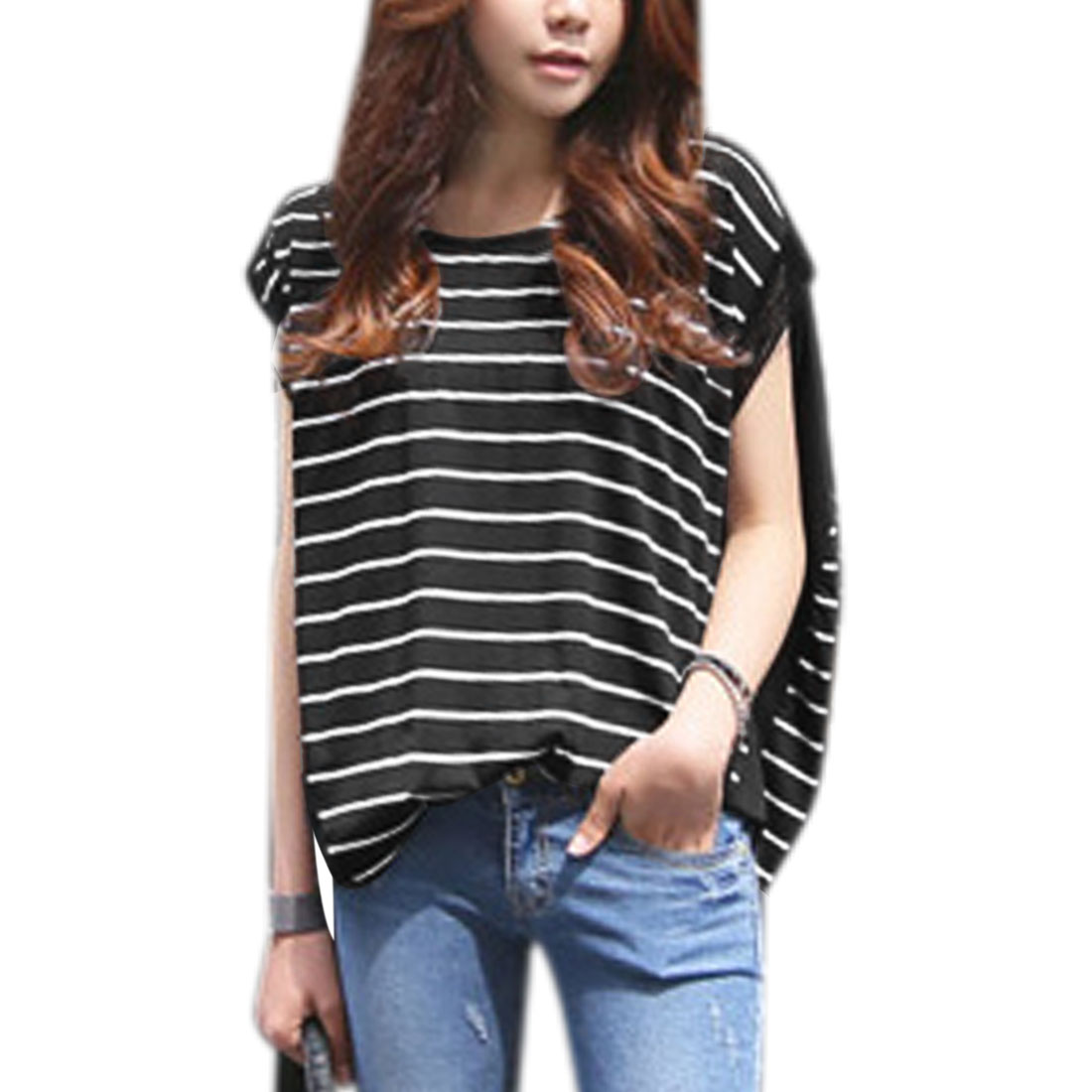 Women's Round Neck Stripes Mesh Panel High-Low Hem Casual Blouse Black (Size S / 4)