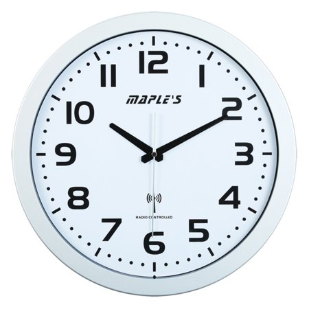 Maples Sales Radio-controlled 15 in. Wall Clock - Silver