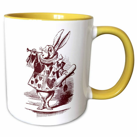 3dRose White Rabbit from Alice in Wonderland - Two Tone Yellow Mug, 15-ounce