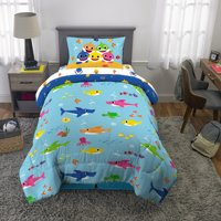 Baby Shark 4Pc Bed in a Bag Set, Twin Size, with Bonus Tote!, Blue