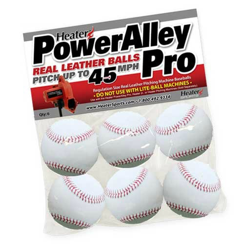 Heater Sports Baseballs Leather - PowerAlley, White - Pack Of 6