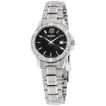 Sur719 Crystal Women S Silver Steel Bracelet With Black Analog Dial Watch