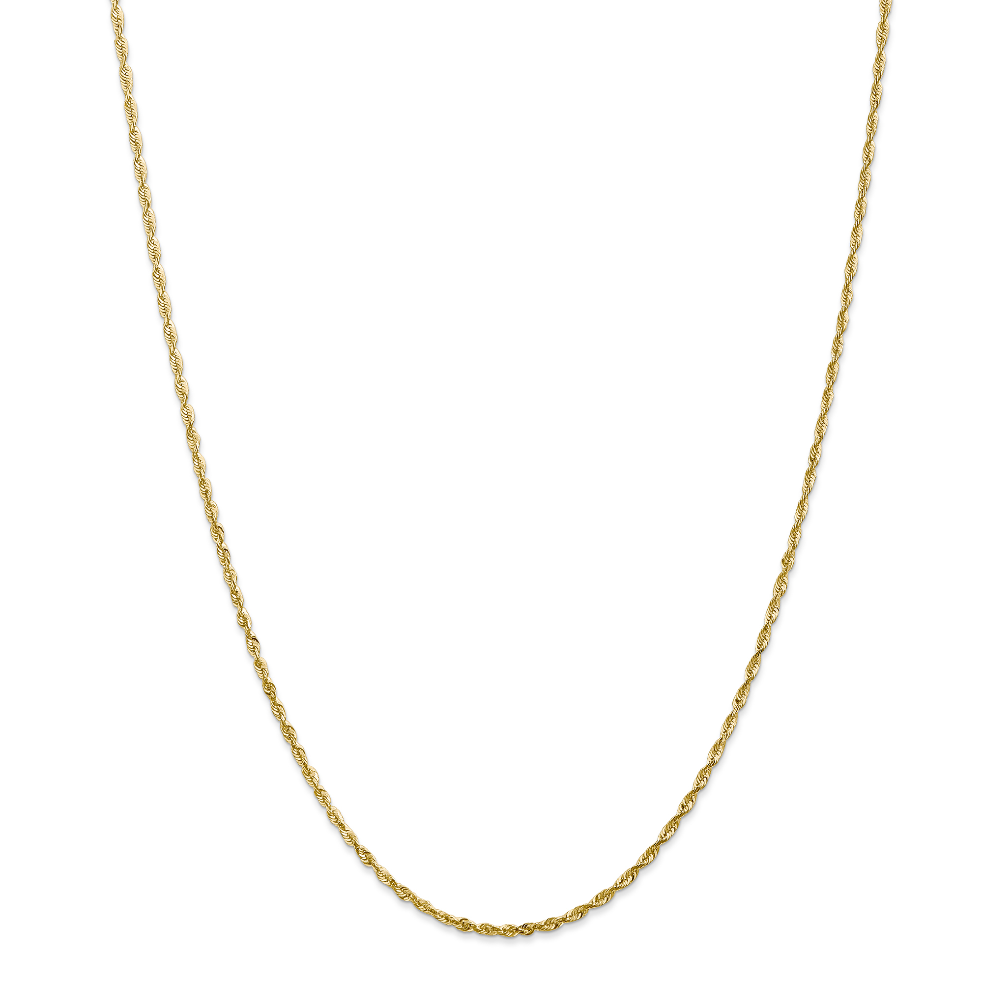 14K Yellow Gold 2.0mm Diamond Cut Extra-Light Rope Chain 24 Inch - image 5 of 5