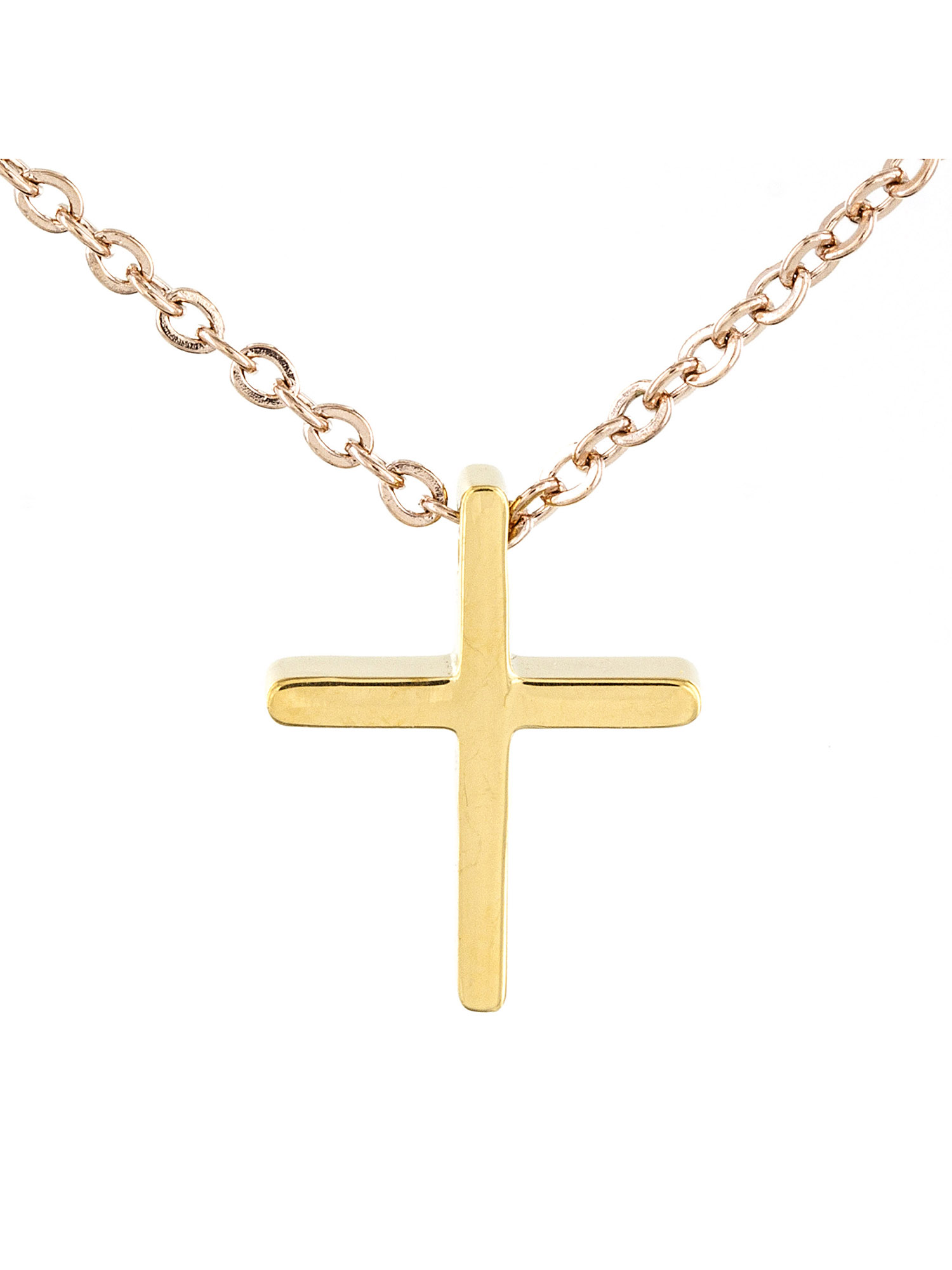 ELYA Stainless Steel Two-tone Cross Pendant Necklace