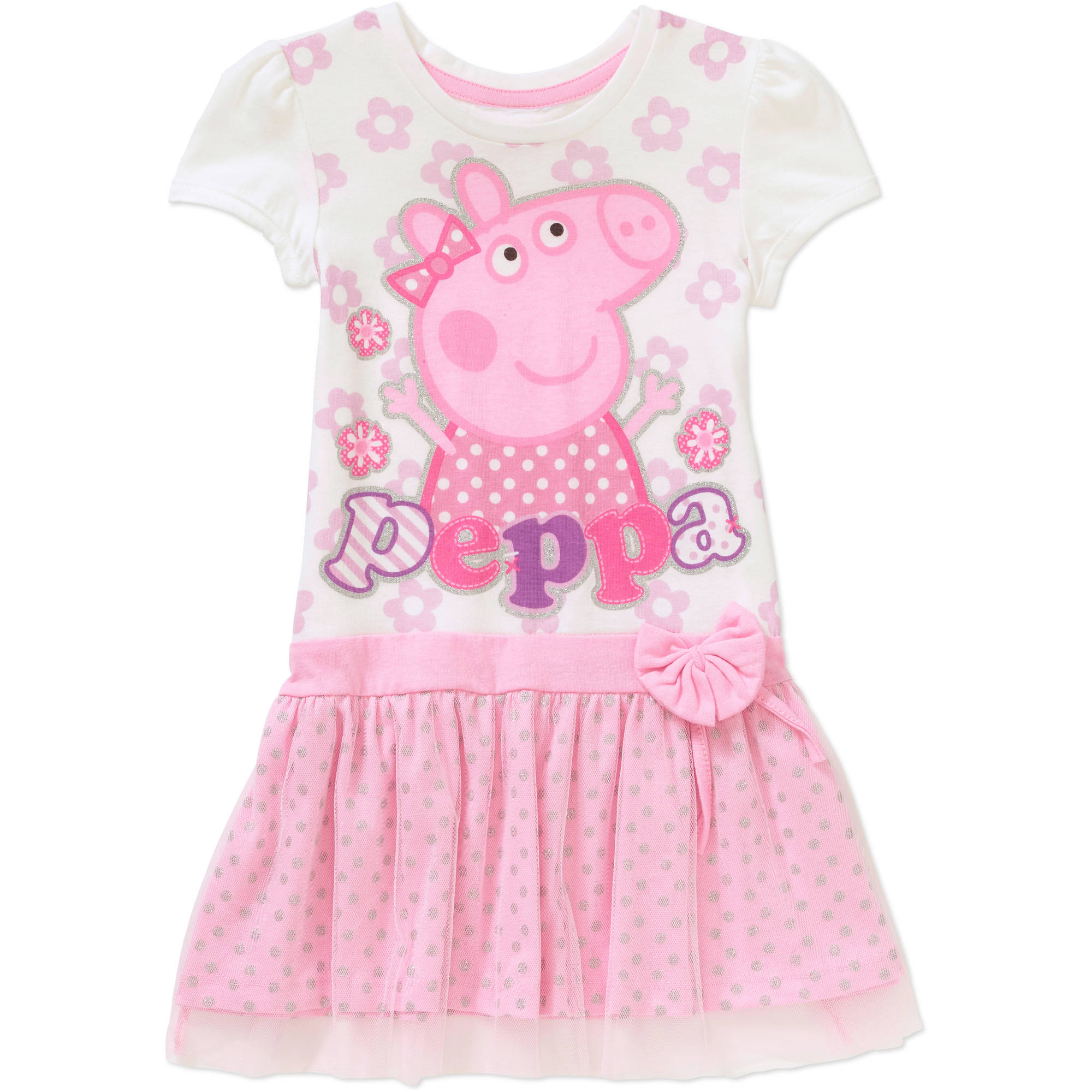 Peppa Pig Toddler Girl Graphic Short Sleeve Tee Shirt Dress