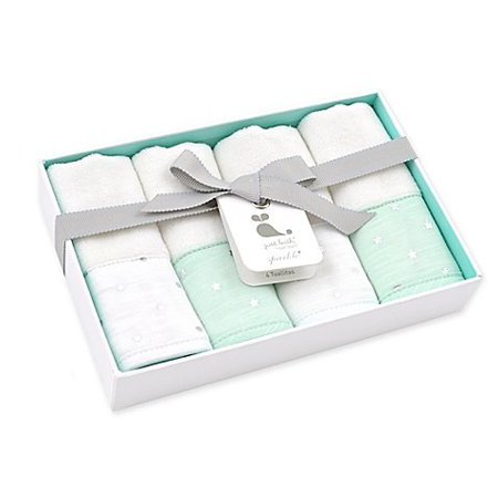 Sparkle Washcloths 4-Pack in Mint Green, Designed with durable and soft materials, the Just Born Sparkle Washcloths 4-Pack in Mint makes bath time a little less.., By Just Born Ship -