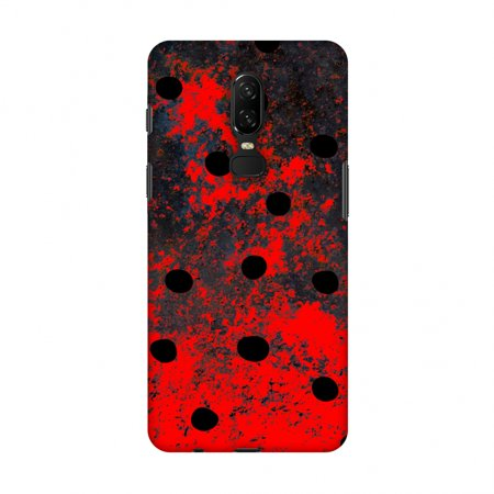 OnePlus 6 Case - Lady Bug - Black Dots On Grey Lava Plastered Effect, Hard Plastic Back Cover, Slim Profile Cute Printed Designer Snap on Case with Screen Cleaning -