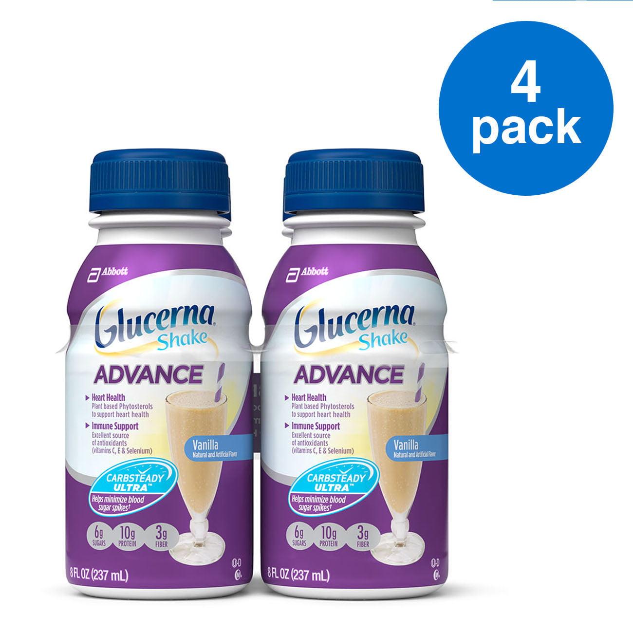 Glucerna Advance Nutrition Shake, To Help Manage Blood Sugar, Vanilla, 8 Oz, 4 Ct