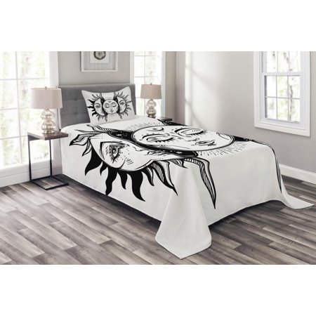 Moon Bedspread Set, Monochrome Sun and Moon Pattern Oriental Image Asian Culture Inspired Design Print, Decorative Quilted Coverlet Set with Pillow Shams Included, Black White, by Ambesonne ()