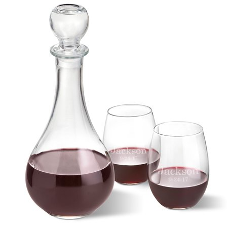 Personalized Bormioli Rocco Loto Wine Decanter with stopper and 2 Stemless Wine Glass Set (Personalized Plastic Wine Glasses)