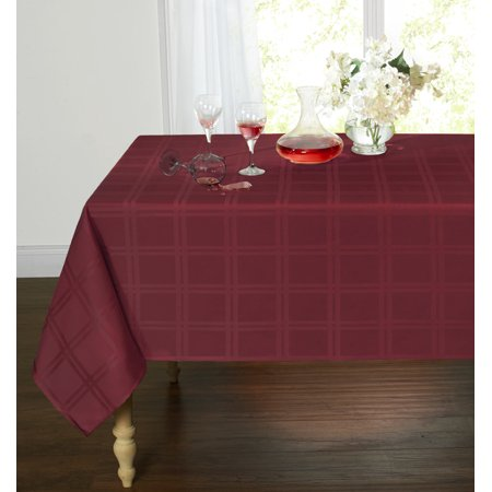 Spill Proof/Stain Resistant Plaid Tartan Fabric Tablecloth (60 in. W x 120 in. L, Burgundy) - Tartan Tablecloth