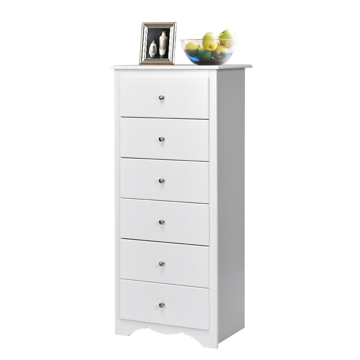Gymax 6 Drawer Chest Dresser Clothes Storage Bedroom Tall Furniture Cabinet White - Walmart.com ...