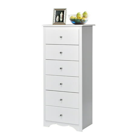 Gymax 6 Drawer Chest Dresser Clothes Storage Bedroom Tall Furniture Cabinet White ()