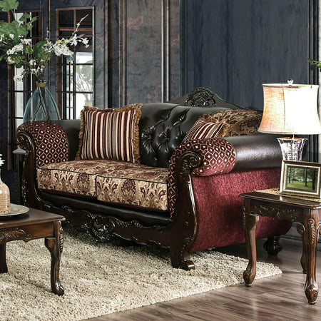 Traditional Wood Loveseat in Brown SM6415 Quirino by Furniture of America