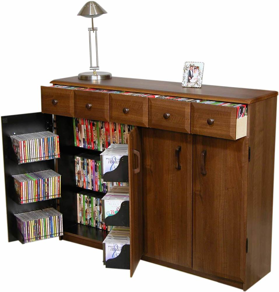 Multi-Media Console w 5 Drawers & 4 Doors in Dark Walnut Finish