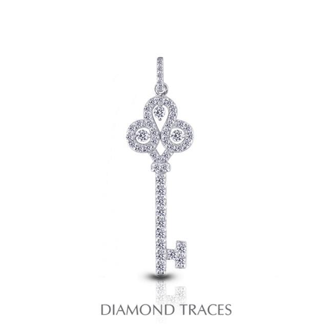 1.31 Carat Total Natural Diamonds 14K White Gold Prong Setting Key Fashion Pendant - image 1 of 1