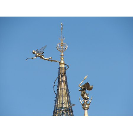 Canvas Print Disneyland Castle Roof Paris Tinkerbell Stretched Canvas 10 x 14