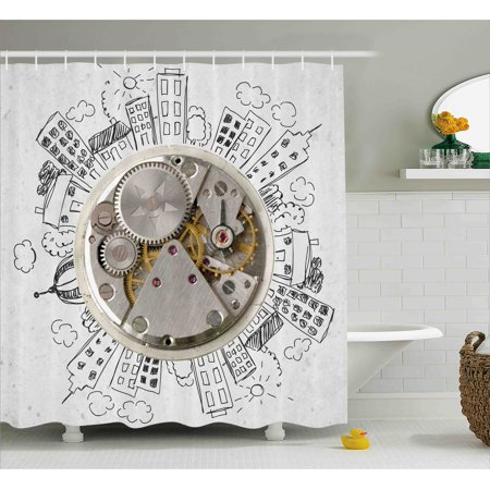 Clock Decor Shower Curtain, An Alarm Clock with Clouds and Buildings Around It Pattern Decorative Design, Fabric Bathroom Set with Hooks, 69W X 75L Inches Long, Light Grey, by Ambesonne