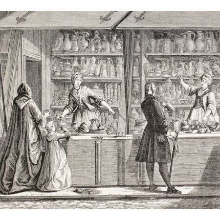 A Shop Selling Pottery And Pewter Ware In Paris France During The 18Th Century From Xviii Siecle Institutions Usages Et Costumes Published Paris 1875 PosterPrint Pewter Raised Design