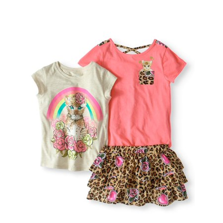 Little Girls' 4-8 Short Sleeve Print Crossback T-Shirt, Graphic T-Shirt, And Print Challis Scooter 3-Piece Outfit Set for $<!---->