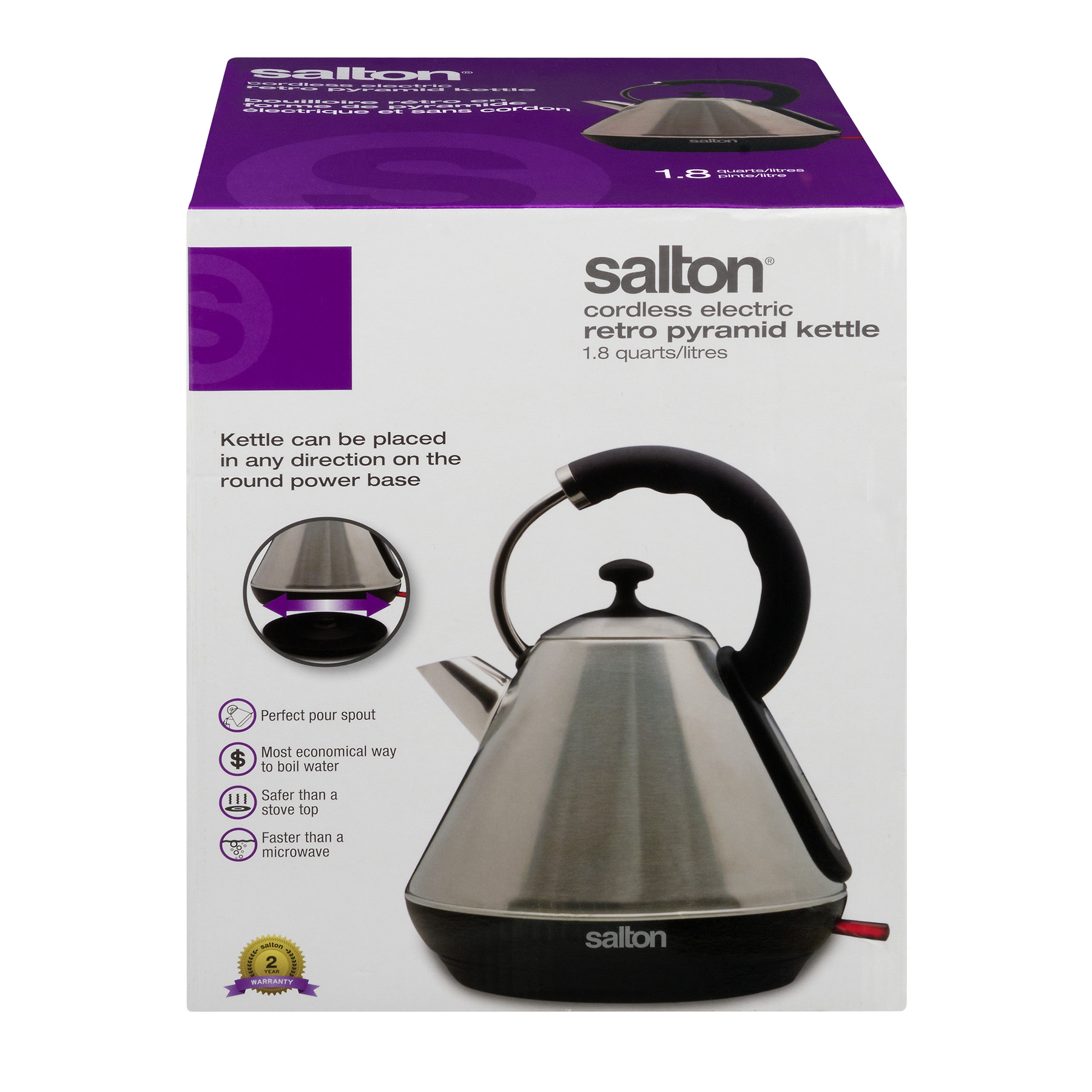 Salton Cordless Electric Retro Pyramid Kettle, 1.0 CT