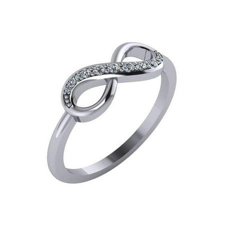 LR171WG10KT-7.5 0.13 CTTW Diamond Infinity Ring 10k, White Gold - Size 7.5