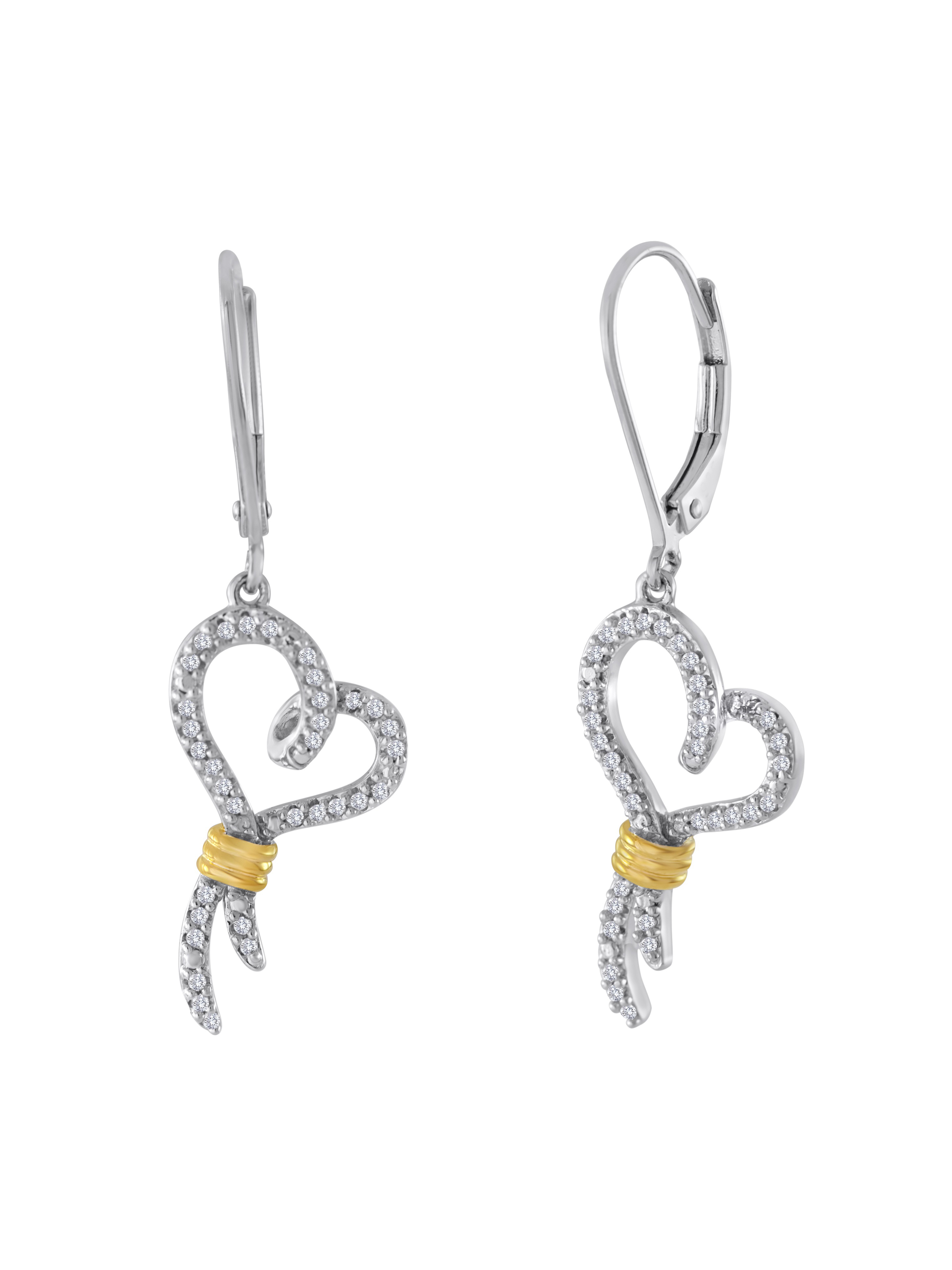 Knots of Love 14kt Yellow Gold over Sterling Silver 1/4 Carat T.W. Diamond Earrings
