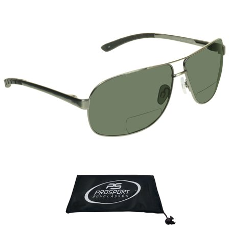 proSPORT Aviator Polarized Bifocal Reading Sunglasses for Men and Women. High Quality Nickel Silver (Sunglass Quality)