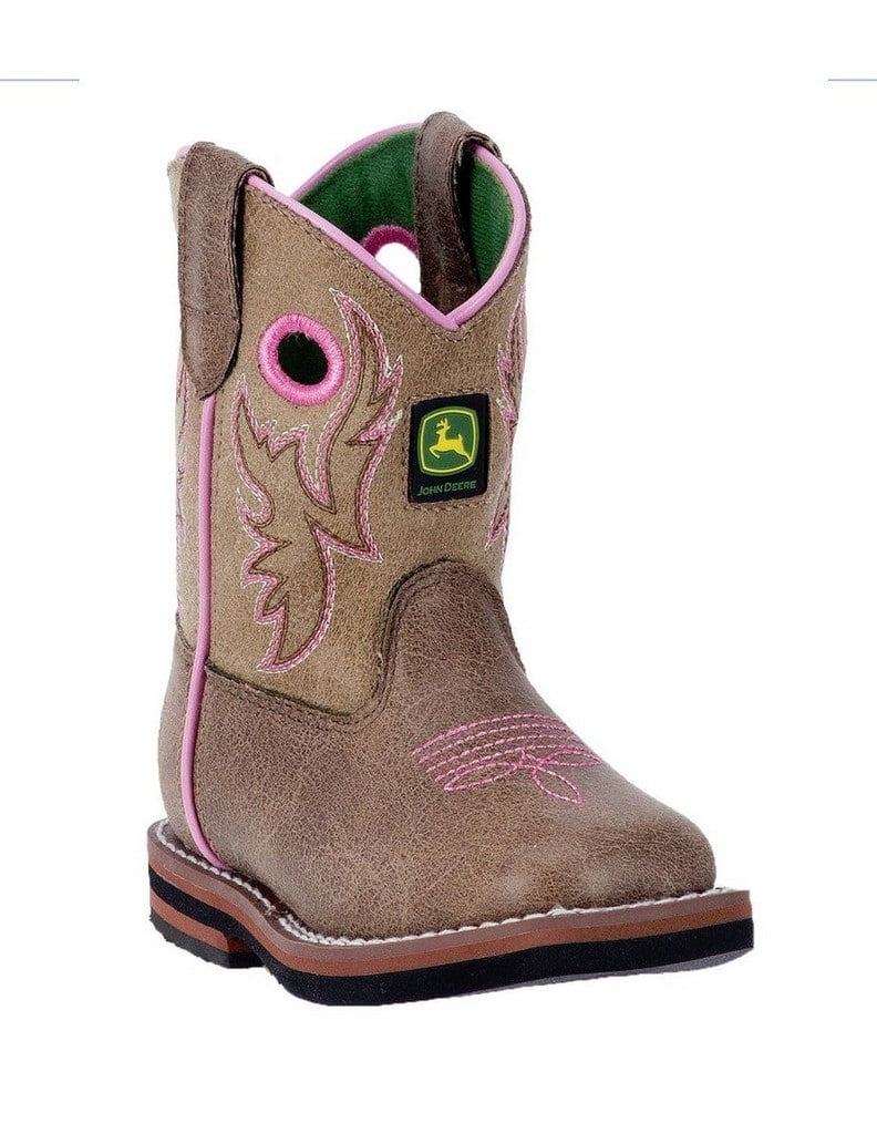 John Deere Western Boots Girls Kids Broad Toe Leather Brown JD1021 by John Deere