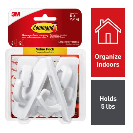 3M Command Large Utility Hooks, White, Organize Damage-Free, 6 (Command Base)