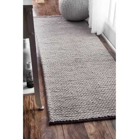 Nuloom Handmade Casual Braided Wool Light Grey Runner Rug 2 6 X