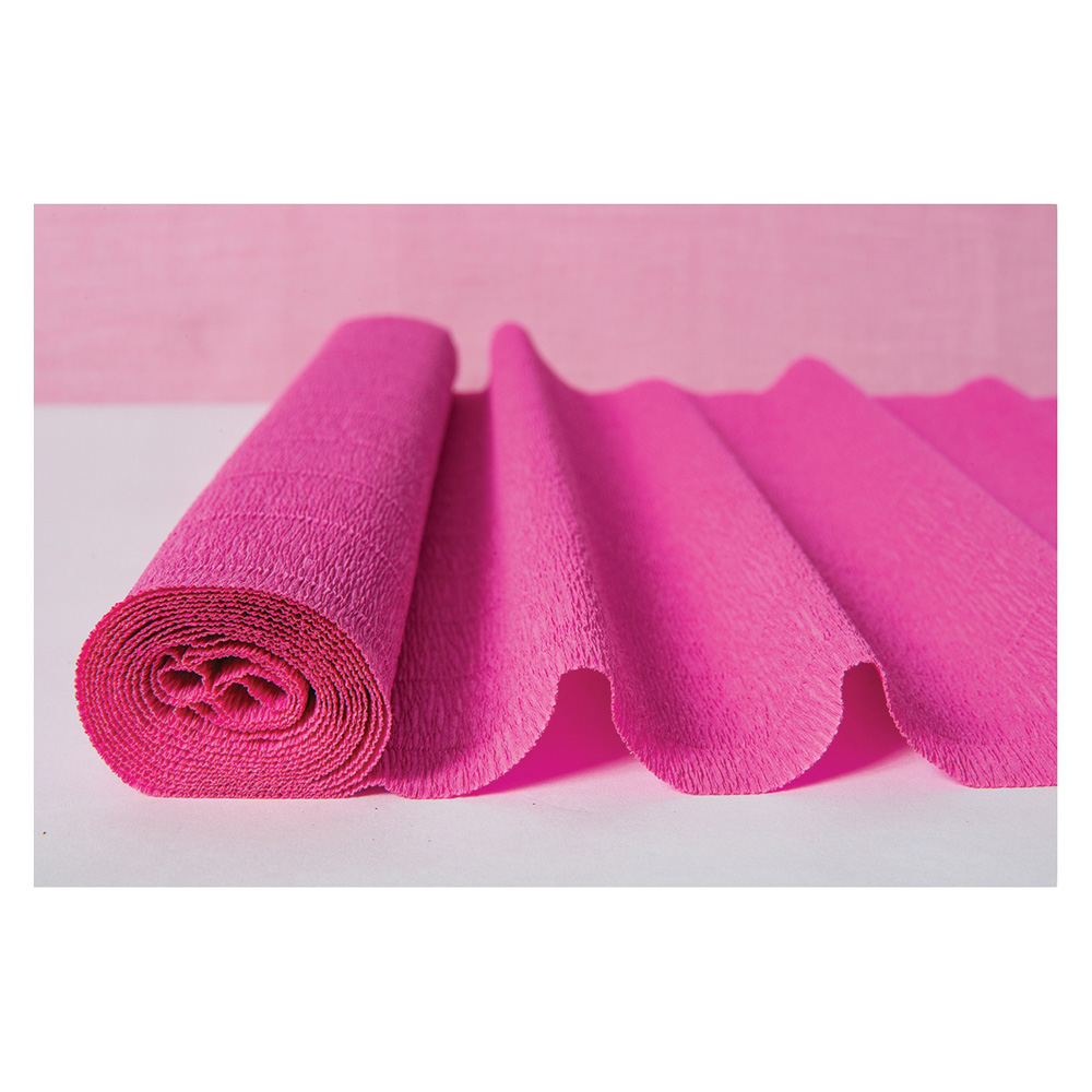 Luna Bazaar Premium Heavy Italian Crepe Paper Roll (20 Inches x 8 Feet, Fuchsia Pink) - For DIY Projects, Table Runners, and Gift Wrapping
