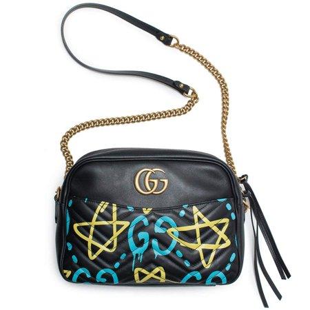 b451228b02b Gucci - Gucci Ghost GG Marmont Black Graffiti Leather Shoulder Bag Handbag  Italy New 1 - Walmart.com