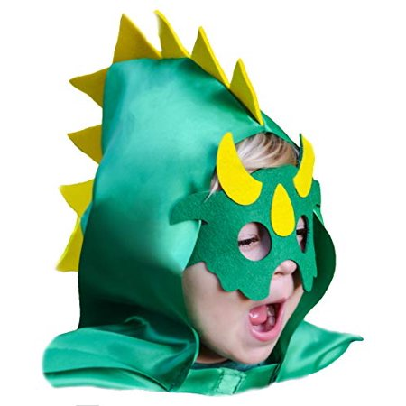 Dinosaur Costume Cape with Spiked Hood and Mask Set Green for Imaginative Play Boys Girls Toddlers](Dinasour Mask)