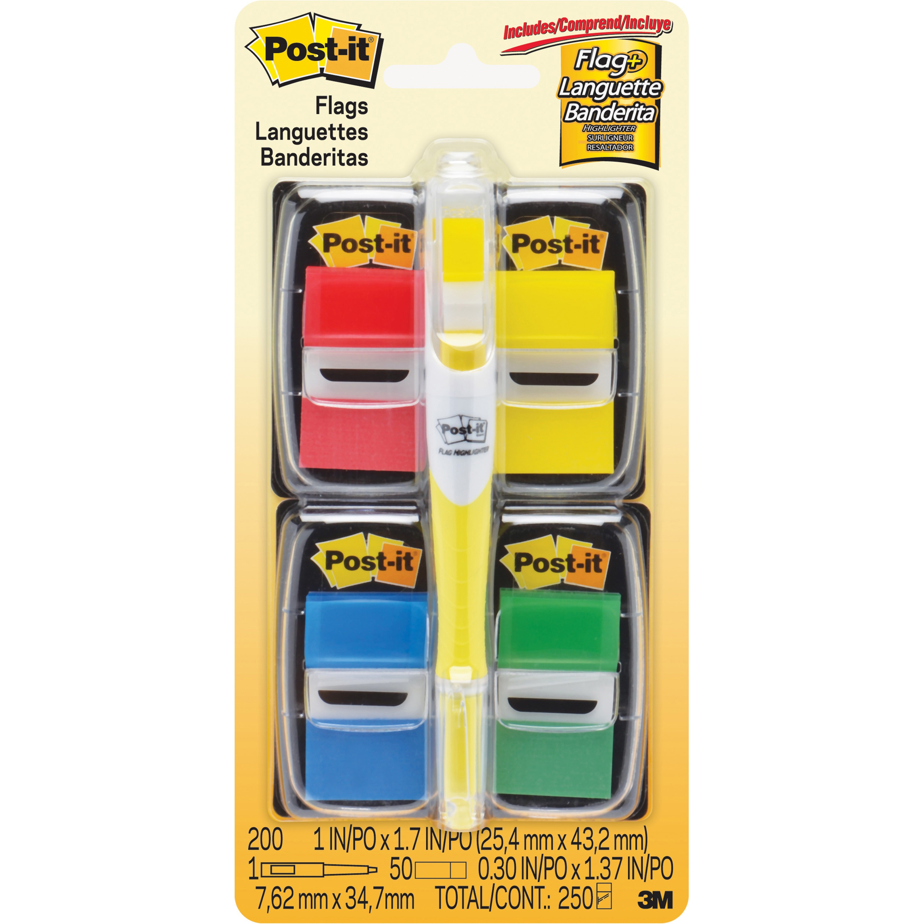 Post-it®, MMM680RYBGVA, Assorted Flags Value Bonus Pack, 225 / Pack, Blue,Green,Red,Yellow,Assorted