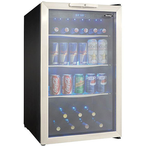 Danby 4.3 cu ft Beverage Center with Glass Shelves and Stainless Steel Trim Door, Stainless Steel