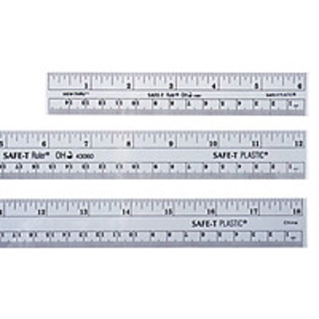 Safe-T Beveled Edge Rounded Corner Plastic Ruler, 6 Inches, Clear
