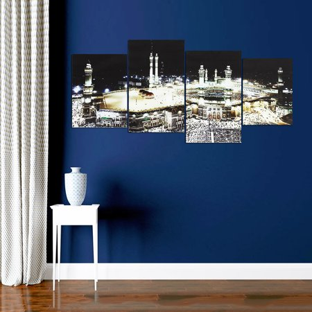 4 Panels Islam Mecca Holy City Night Muslims Canvas Picture Wall Art  - image 2 de 7