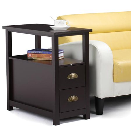 sofa side narrow end table with 2 drawer and shelf nightstand for small spaces living room. Black Bedroom Furniture Sets. Home Design Ideas