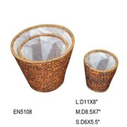 Essential Decor Set Of 3 Seagrass Basket Brown L: 11 X 8 in/M: 8.5 in/S: 5 in