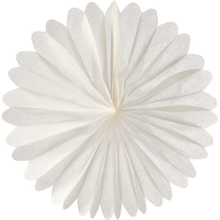 Hanging Paper Fan (19-Inch, White) - Rice Paper Honeycomb Decorations - For Home Decor, Parties, and Weddings - Honeycomb Heart Decorations