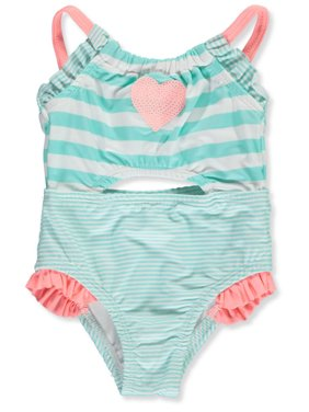 Famous Brand Baby Girls' Sequin Contrast 1-Piece Swimsuit