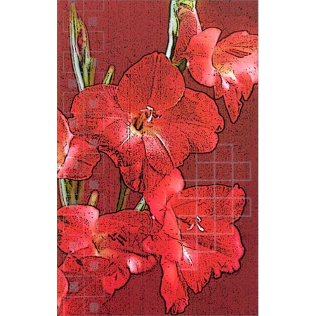 Freedom Greetings Large Red Flowers Blank Note Card