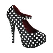 Womens Polka Dot Mary Jane Pumps Black Red Classy Retro Shoes 5 3/4 Inch Heel