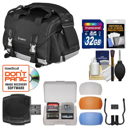 Canon 200DG Digital SLR Camera Case Gadget Bag + 32GB Card + Diffuser Kit for EOS 6D, 70D, 7D, 5DS, 5D Mark II III, Rebel T3, T5, T5i, T6i, T6s, SL1